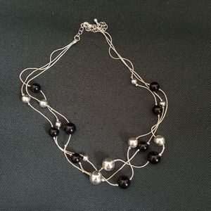 Avenue Silver and Black Beaded Fashion Necklace